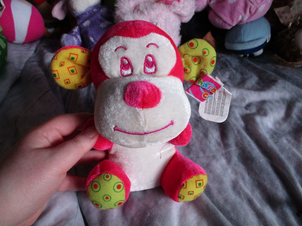 Pink / Yellow Patch Monkey - Character Co - Soft Toy