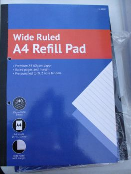 Wide Ruled A4 Refill 140pg Lined Paper Pad