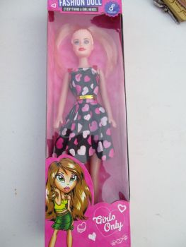 Black with Pink Hearts Dress - Fashion Doll