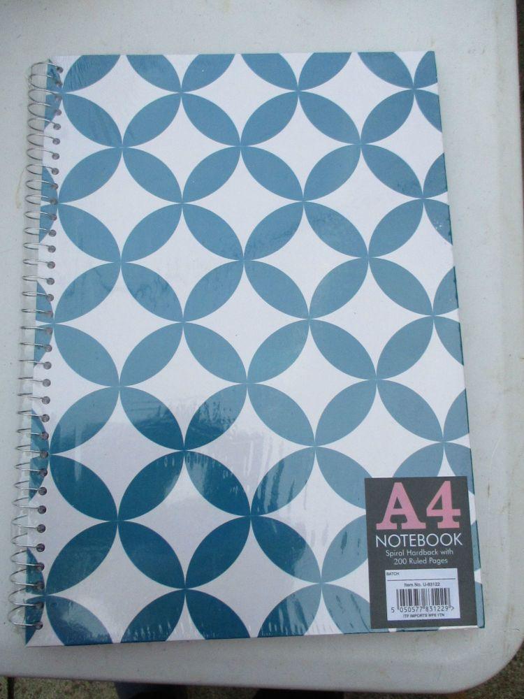 Blue 200pg Hardback Spiral A4 Lined Notebook