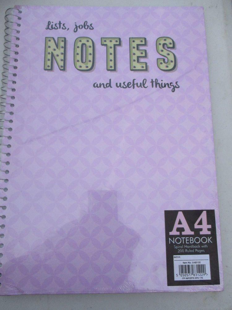 Pink 200pg Hardback Spiral A4 Lined Notebook