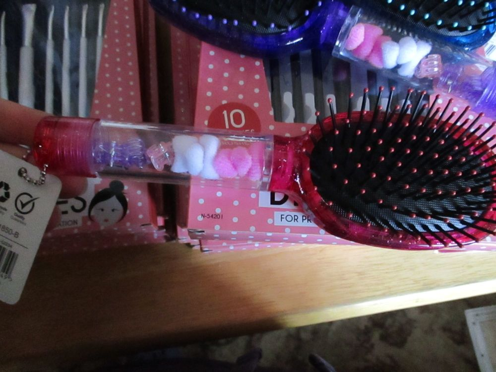 Dark Pink - Chloe 11pc Glitter Hair Brush & Mirror Set