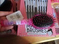 Pink - Chloe 11pc Glitter Hair Brush & Mirror Set
