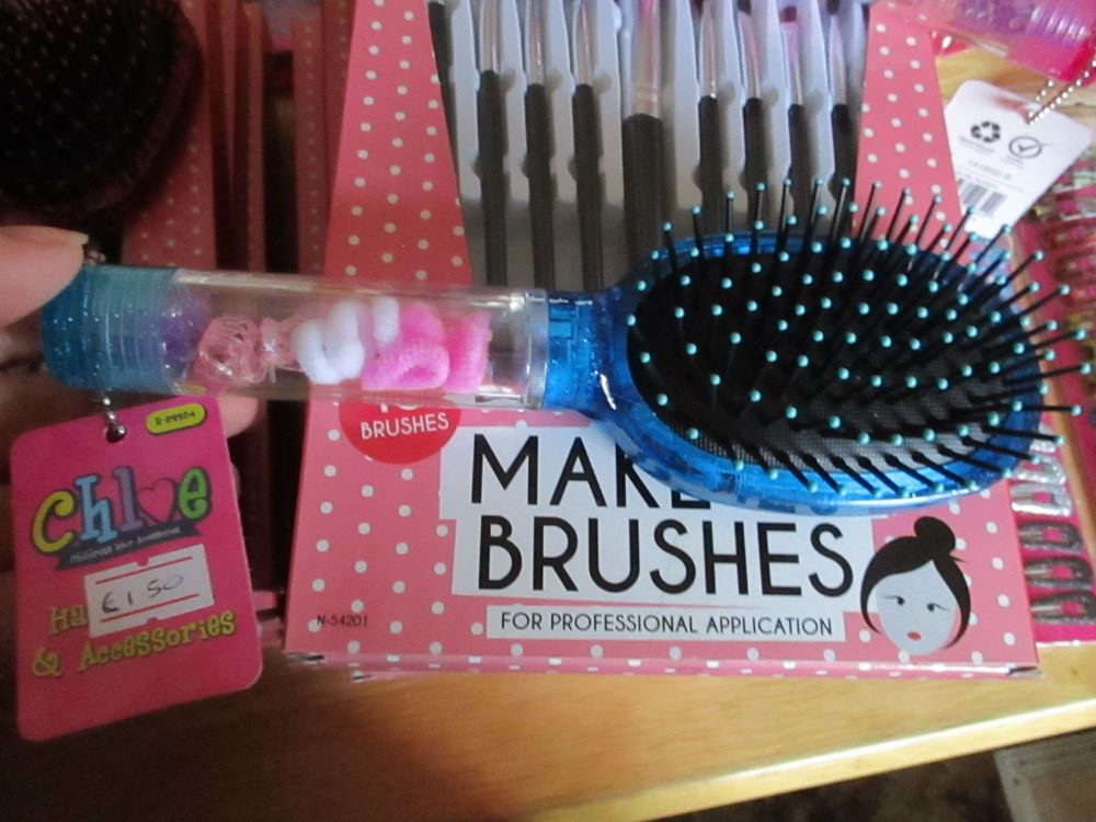Blue - Chloe 11pc Glitter Hair Brush & Mirror Set