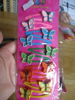 10pc Butterflies Novelty Hair Slides - Chloe
