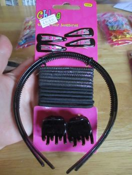 20pc Black Hair Accessories Set - Chloe