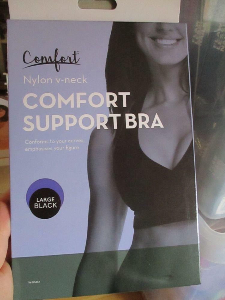 Large Black Comfort V-Neck Support Bra