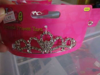 Metal Rounded Domes Design - Diamante Princess Tiara - Chloe