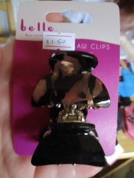 2pc Brown / Black Pearl Effect Midi Claw Clips - Belle