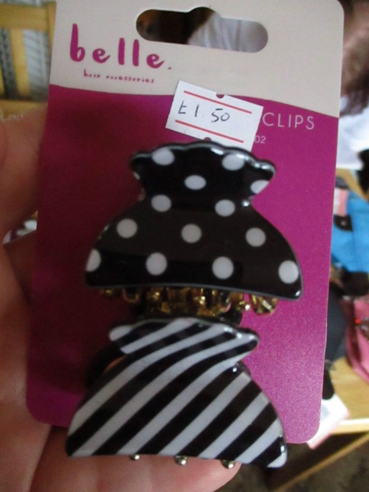 2pc Black / White Spots & Stripes Midi Claw Clips - Belle