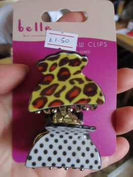 2pc Animal Print / Spotted Midi Claw Clips - Belle
