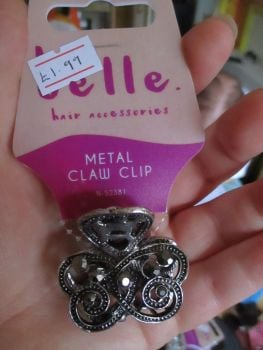 Dark Charcoal Tone Metal Claw Clip - Belle