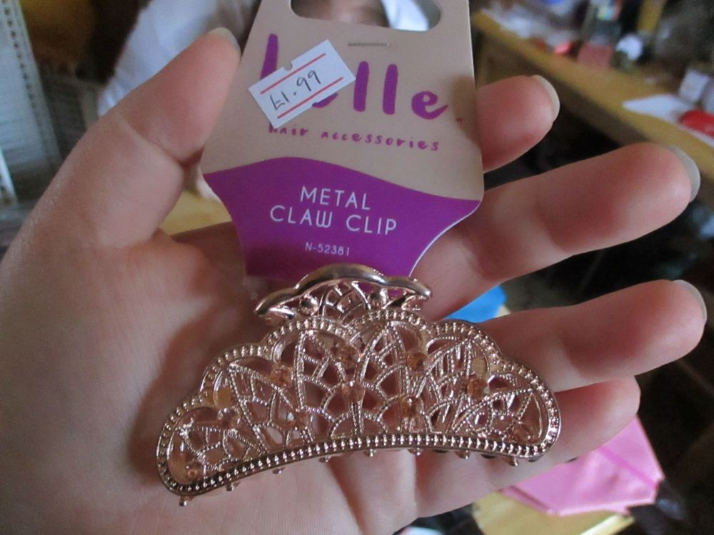 Shiny Rose Gold Tone Metal Claw Clip - Belle