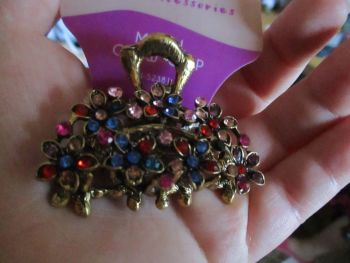 Bronze Tone Flowered Metal Claw Clip - Belle