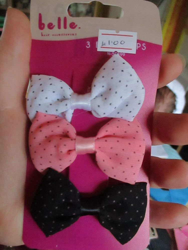 Spotted Pink / Black / White Bow Hair Clips - Belle