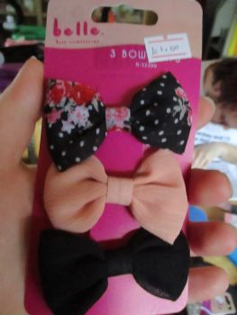 Peach / Black / Floral Bow Hair Clips - Belle