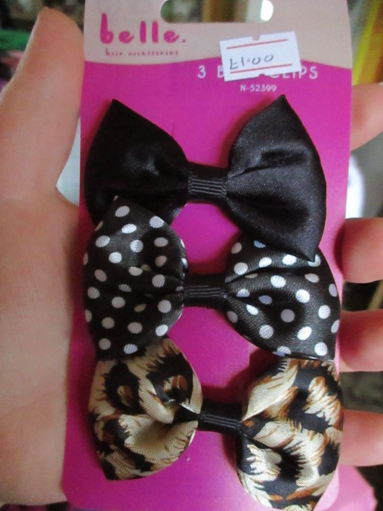 Black / Spotted / Animal Print Bow Hair Clips - Belle