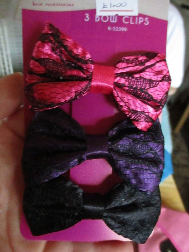 Black / Pink / Purple Net Bow Hair Clips - Belle