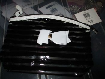 Black PVC Ribbon Detail Toiletry Cosmetics Travel Bag - Look At Me