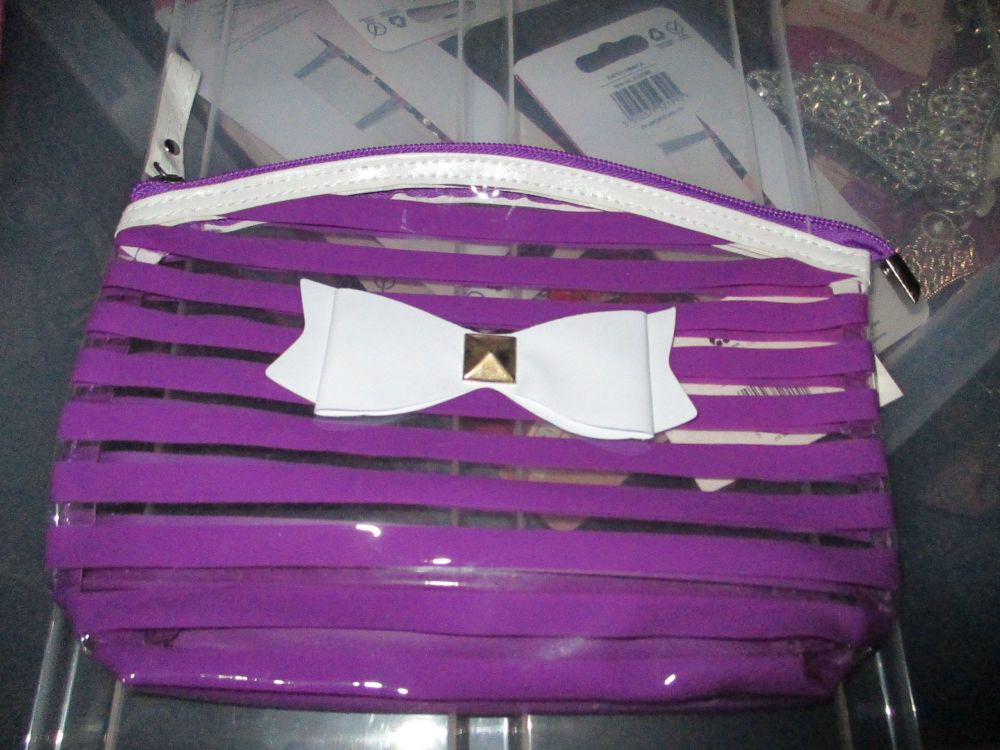 Purple PVC Ribbon Detail Toiletry Cosmetics Travel Bag - Look At Me