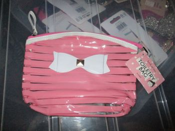 Pink PVC Ribbon Detail Toiletry Cosmetics Travel Bag - Look At Me