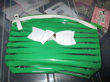 Green PVC Ribbon Detail Toiletry Cosmetics Travel Bag - Look At Me