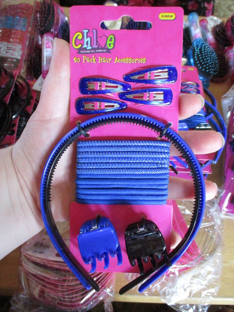 20pc Blue Hair Accessories Set - Chloe