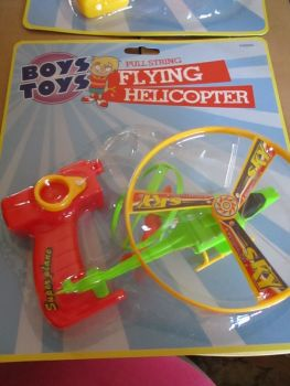 Red Boys Toys Pull String Flying Helicopter