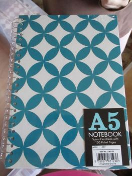 Blue 150pg Hardback Spiral A5 Lined Notebook