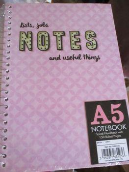 Pink 150pg Hardback Spiral A5 Lined Notebook