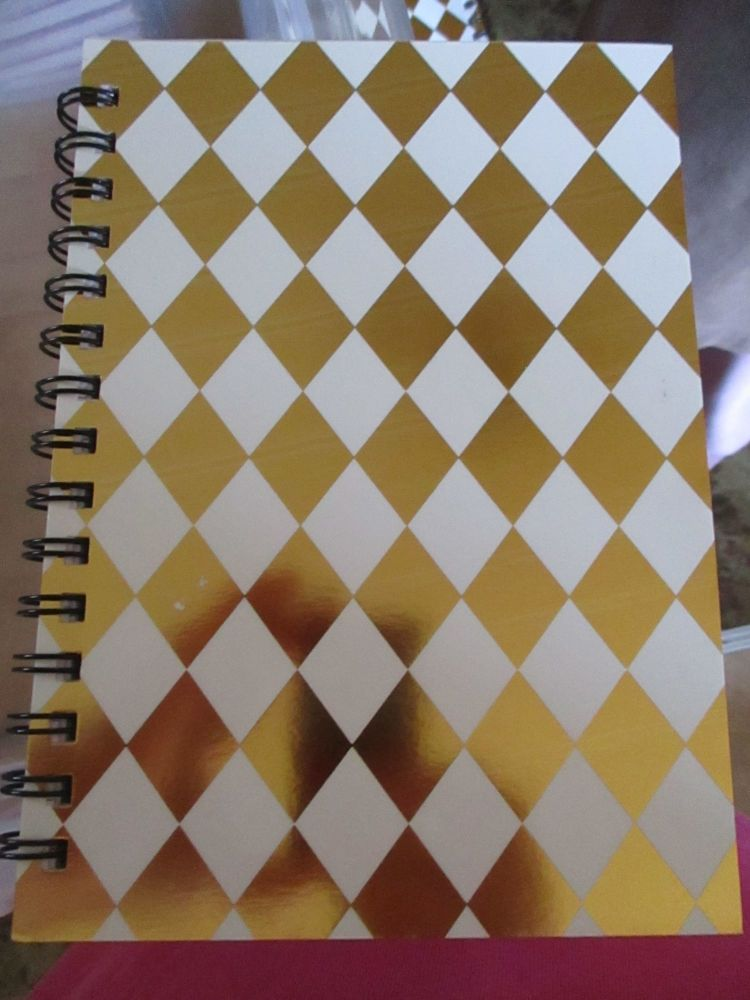 White / Gold Diamond 240pg Cardback Spiral A5 Lined Notebook