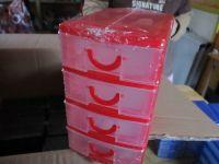Red Plastic Mini 4 Drawer Storage Tidy