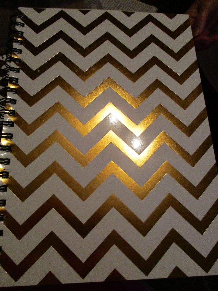 White / Gold ZigZag 140pg Cardback Spiral A4 Lined Notebook