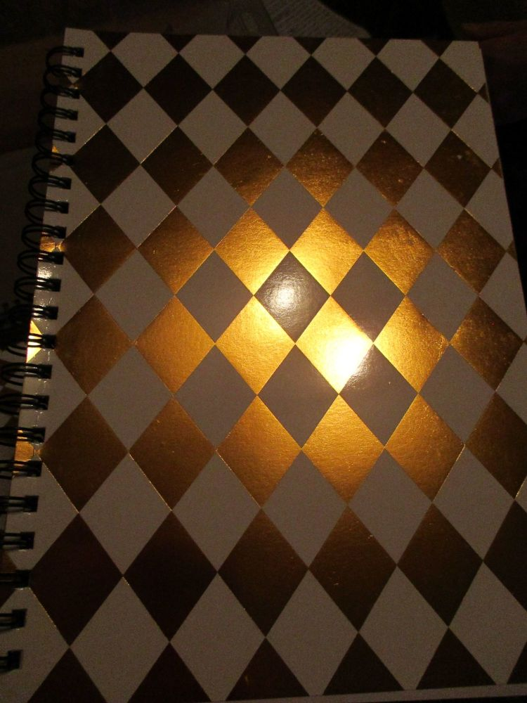 White / Gold Diamond 140pg Cardback Spiral A4 Lined Notebook