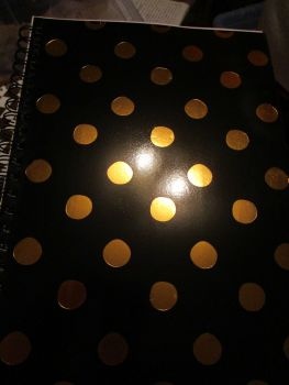 Black / Gold Spotted 140pg Cardback Spiral A4 Lined Notebook