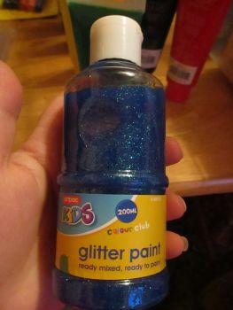 Blue Glittery 200ml Acrylic Paint - Artpac