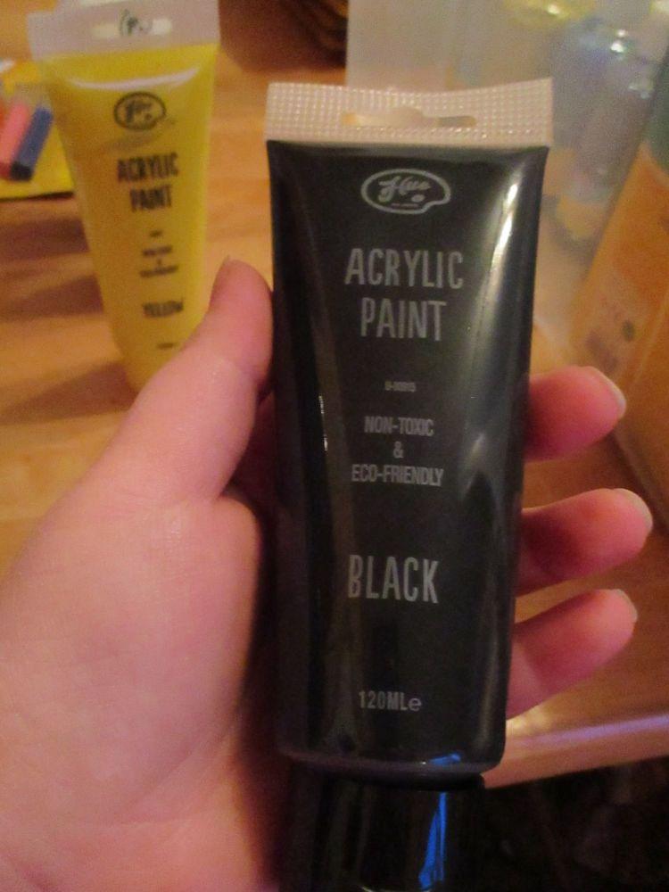Black 120ml Acrylic Paint - Hue
