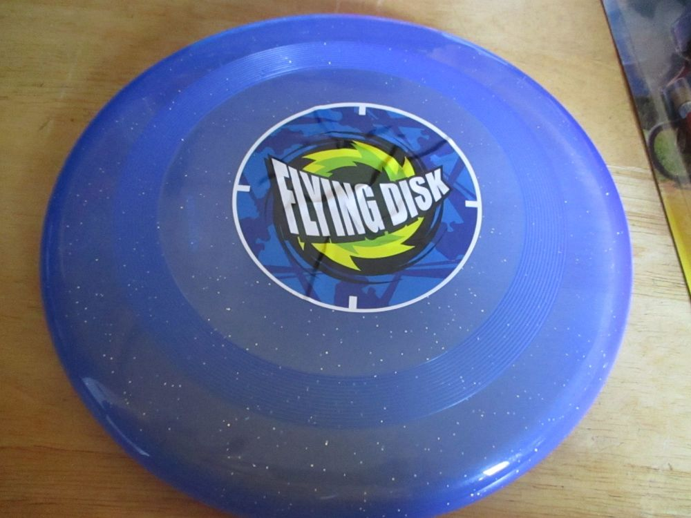Glittery Blue Plastic Flying Disk