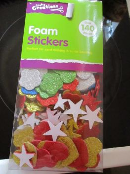 Hearts & Shapes - Crafty Creations 140pc Foam Self Adhesive Stickers