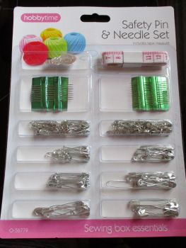 Safety Pin & Needle Set with Tape Measure - Hobbytime
