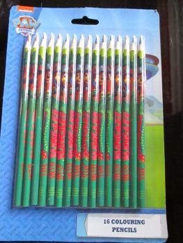 Into The Jungle Green Paw Patrol - Licensed 16pc Colouring Pencils