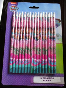 Jungle Patrol Pink Paw Patrol - Licensed 16pc Colouring Pencils