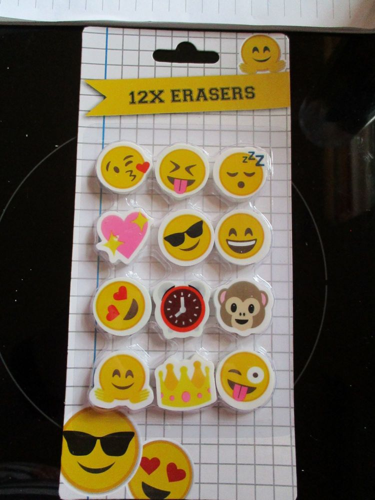 12pc Smiley Emoticons Eraser Pack