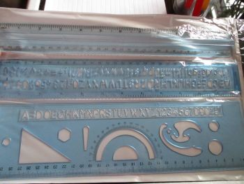 3pc Ruler & Stencils Set - Blue