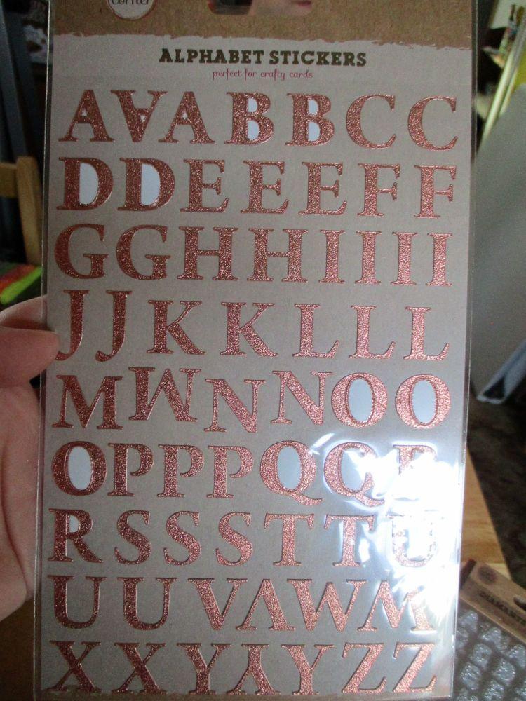 Bronze Alphabet Stickers - Craft Corner