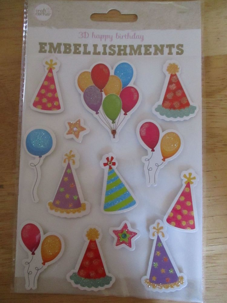 Party Hats & Balloons Stickers - Craft Corner