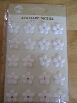 White Jewelled Daisies Stickers - Craft Corner