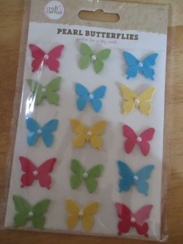 Multi-Coloured Pearl Butterflies Stickers - Craft Corner