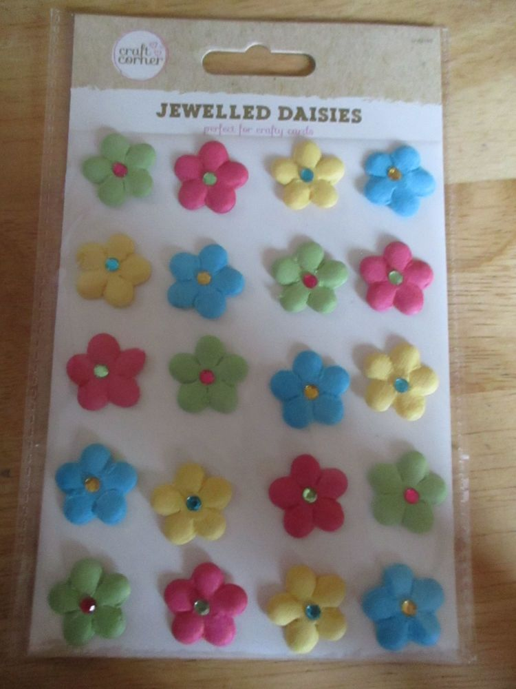 Multi-Coloured Jewelled Daisies Stickers - Craft Corner