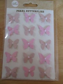 Pink Pearl Butterflies Stickers - Craft Corner